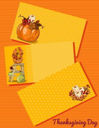 caes: Tarjeta del d�a de Acci�n de Gracias, tres cartas con diferente patr�n sobre un fondo naranja