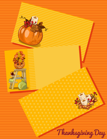 event party: Thanksgiving day card, three cards with different pattern on an orange background
