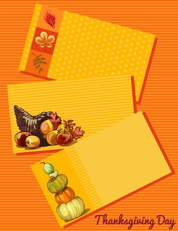 calabaza caricatura: Tarjeta del d�a de Acci�n de Gracias, un conjunto de tres cartas con un patr�n diferente Vectores