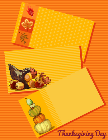 cartoon bouquet: Thanksgiving day card, set of three cards with a different pattern