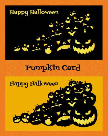 grimace: Two horizontal cards with pumpkins on orange and black background Illustration