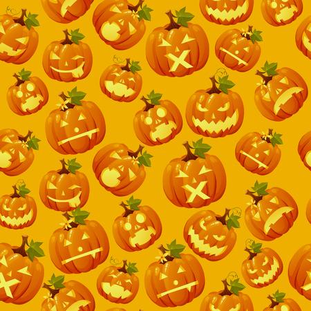 haloween: Haloween background, carved pumpkin faces on orange background Vectores
