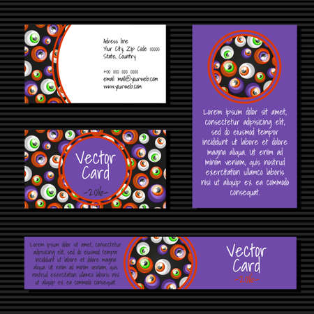 manmade: Cards with big eye balls on a purple background Illustration