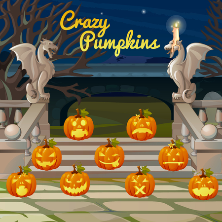 stone background: Front porch with stone figures of dragons and pumpkins with different expression
