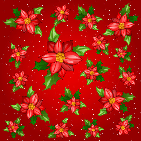 dozen: Flowers with leaves on a red background, colorful card Illustration