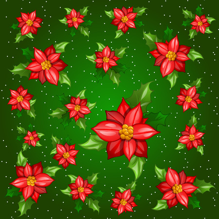 dozen: Flowers with leaves on a green background, colorful card