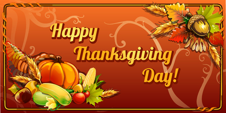 Happy thanksgiving day, horizontal card on an orange background Vectores