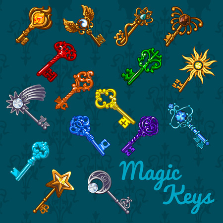 sun protection: Big colorful magical set of keys with different shape of symbols on a dark green background