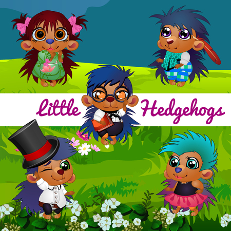 manner: Fictional characters small hedgehogs in a human manner