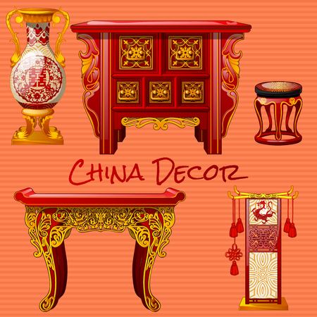 vintage furniture: Vintage furniture in the Chinese style, five objects