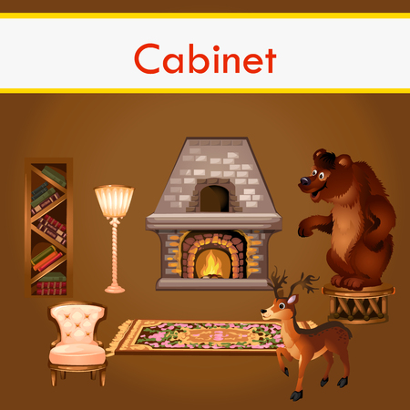 fireplace: Classic cabinet with books, fireplace and stuffed animals