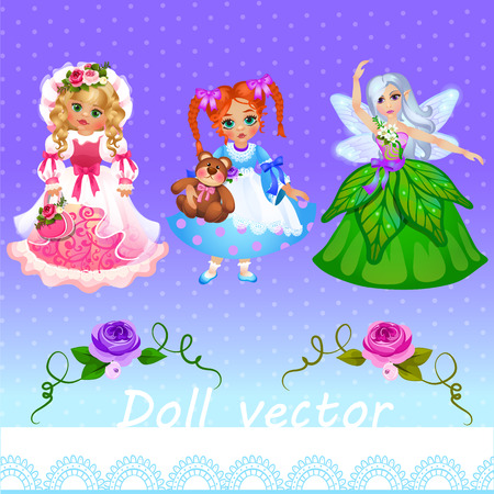 folk tales: Three little girls doll and fairy on a purple background