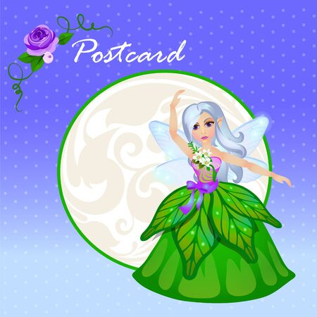 faery: Cute doll forest elf in green dress