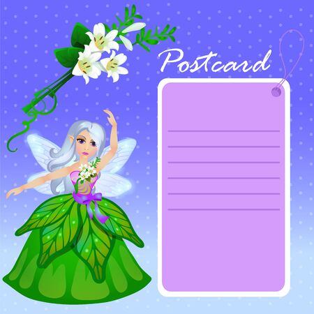faery: Doll forest elf in green dress with purple card, blue background Illustration
