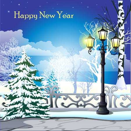 Happy new year greeting card, snowy street with trees and street lamp