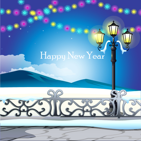 icy: Winter landscape, night sky with twinkle lights, Christmas card