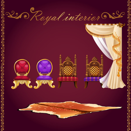castle interior: Items of rich interior, bear pelt, chairs and curtain