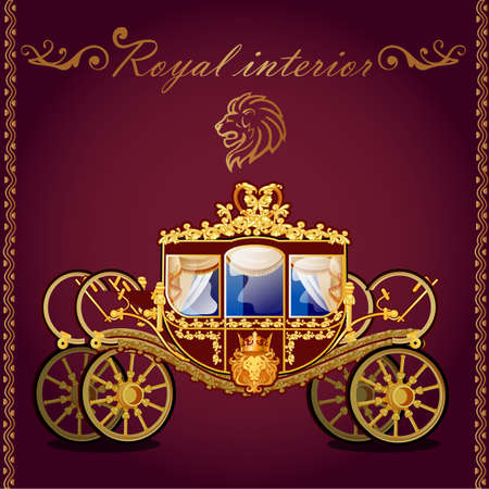 royal wedding: Royal golden carriage and emblem of a lion, dark background
