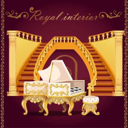 Royal gold piano and Grand staircase with columns