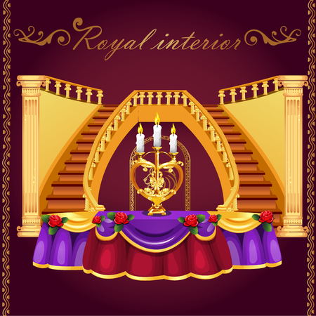 Grand golden staircase and table with candlestick