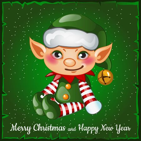helper: Cute and happy Christmas elf on a green background