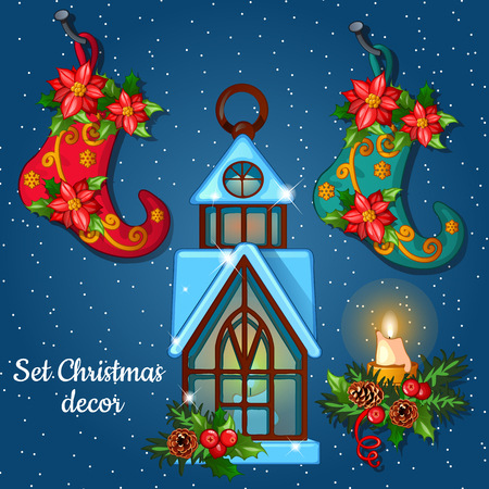 candle holder: Christmas ornament with boots and house candle holder