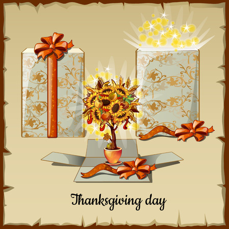 cartoon dwarf: Autumn bonsai from sunflowers and gift box, Thanksgiving day card
