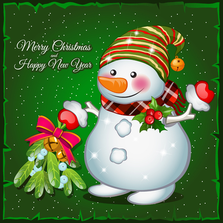 christmas bell: Snowman with brooch on a green background