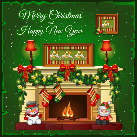 christmas fireplace: Burning fireplace on a green background Illustration