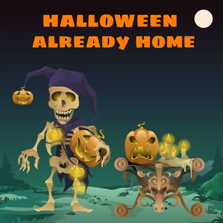 death cap: Card with funny skeleton, Halloween already home Illustration