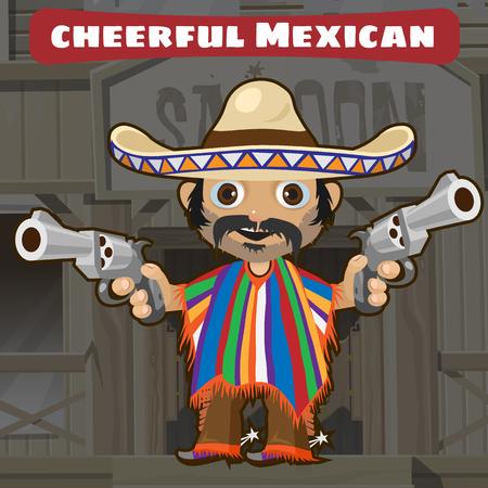 gunman: Fictional cartoon character - cheerful mexican