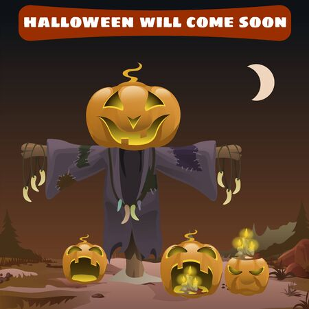 coming soon: Scarecrow smile head pumpkin, Halloween is coming soon Illustration