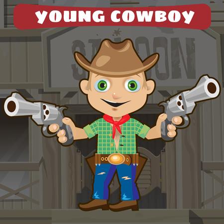 costume cartoon: Fictional cartoon character - young cowboy
