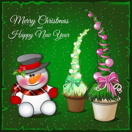 associated: Cute snowman and associated spruce green, modern tree
