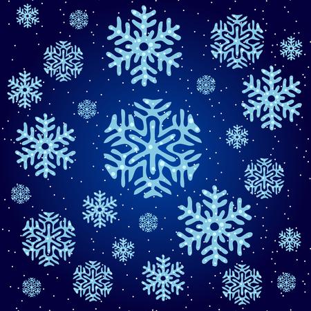 copo de nieve: La textura de los copos de nieve azules sobre un fondo azul oscuro