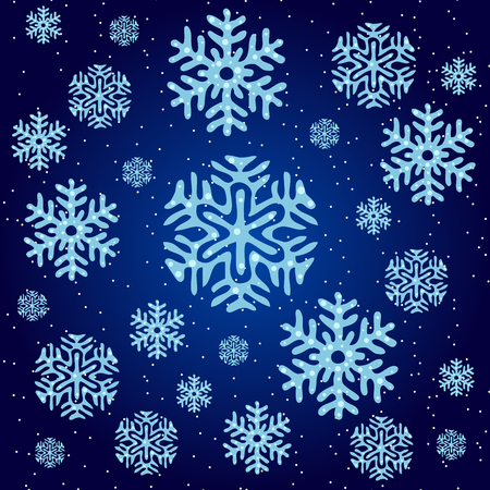 the snowflake: Texture of blue snowflakes on a dark blue background Illustration