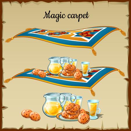 carpet: Magic carpet food, three images on a parchment background Illustration
