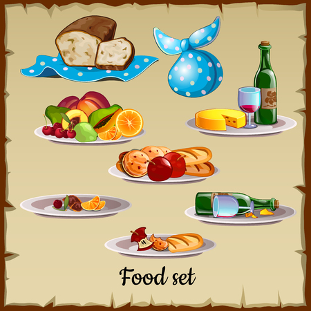 dinner date: Set of food and waste, You can use the all set or some items