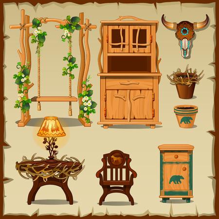 calavera caricatura: Antiguo juego de muebles de madera en el fondo amarillento del papel viejo