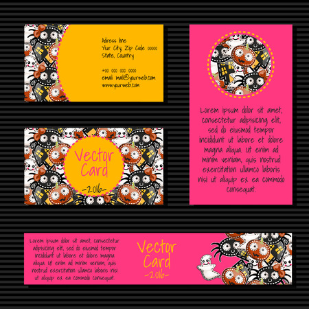 company background: Four vector cards for printing with the example text Illustration