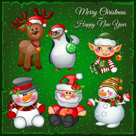 Snowmans and team on a green background, Christmas symbols Vectores