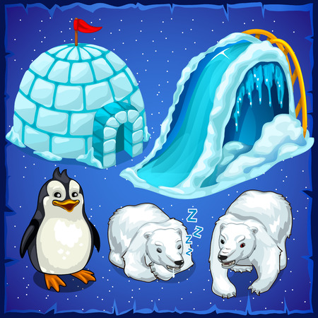 residents: Residents of Antarctica and ice house, penguin and polar bears