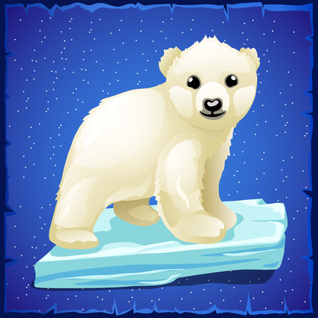floe: Little polar bear on an ice floe, blue background Illustration