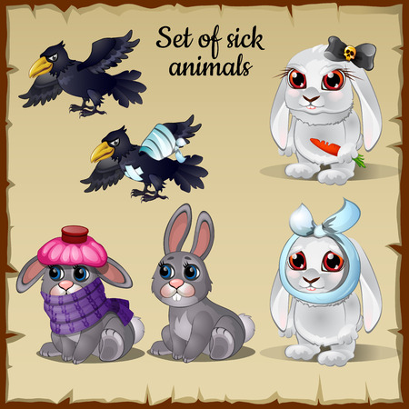 cartoon sick: Three poor sick and healthy animals, cute, funny images