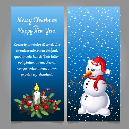 snow cap: Snowman in red cap on a background of snow, two vertical cards Illustration