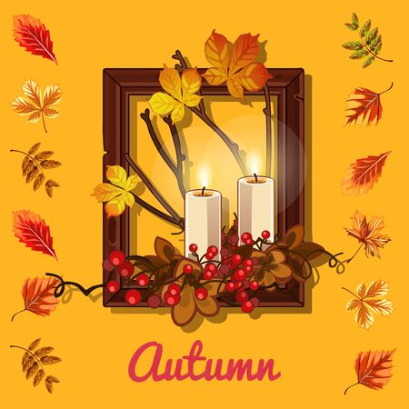 candles: Autumn composition: leaves, candles, and photo frame
