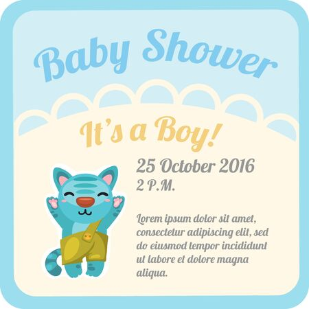 baby boy: Postcard with baby boy in shorts and space for text. Vector illustration