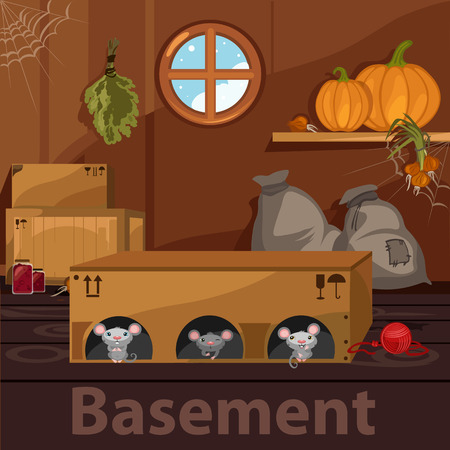 basement: Home basement with rodents, wooden boxes and food Illustration