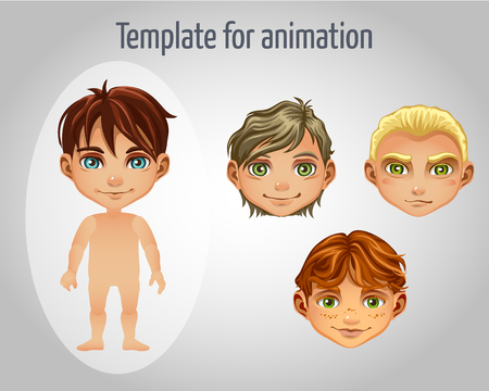 light brown hair: Set of four images of boys for animation for your design needs