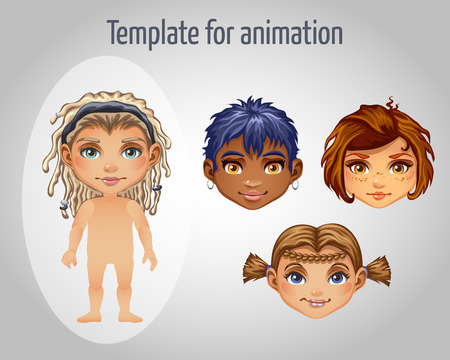 black hair blue eyes: Set of four images of girls for animation for your design needs